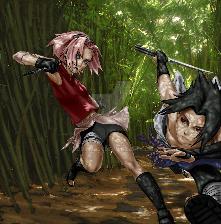 Sakura fights Sasuke by tcumm001