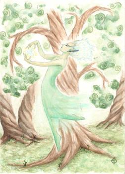 Fair folk dancing in swirling woods