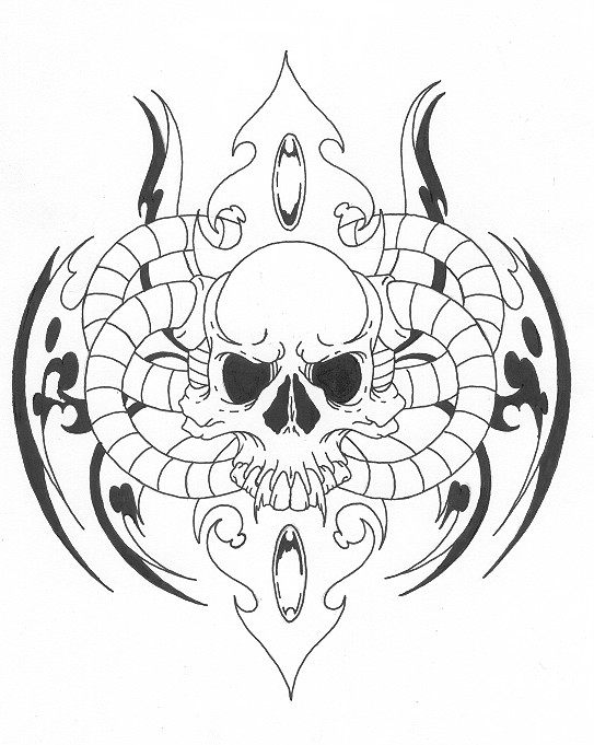 skull tribal by Needles000 on deviantART