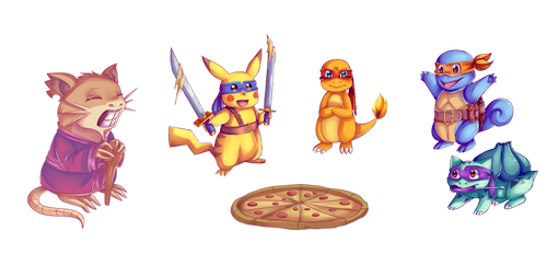 .:TMNT x PKMN:. Let's have some pizza!