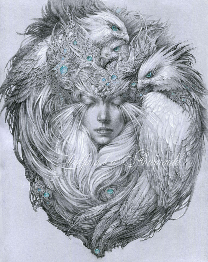 Snow hawks by DalfaArt