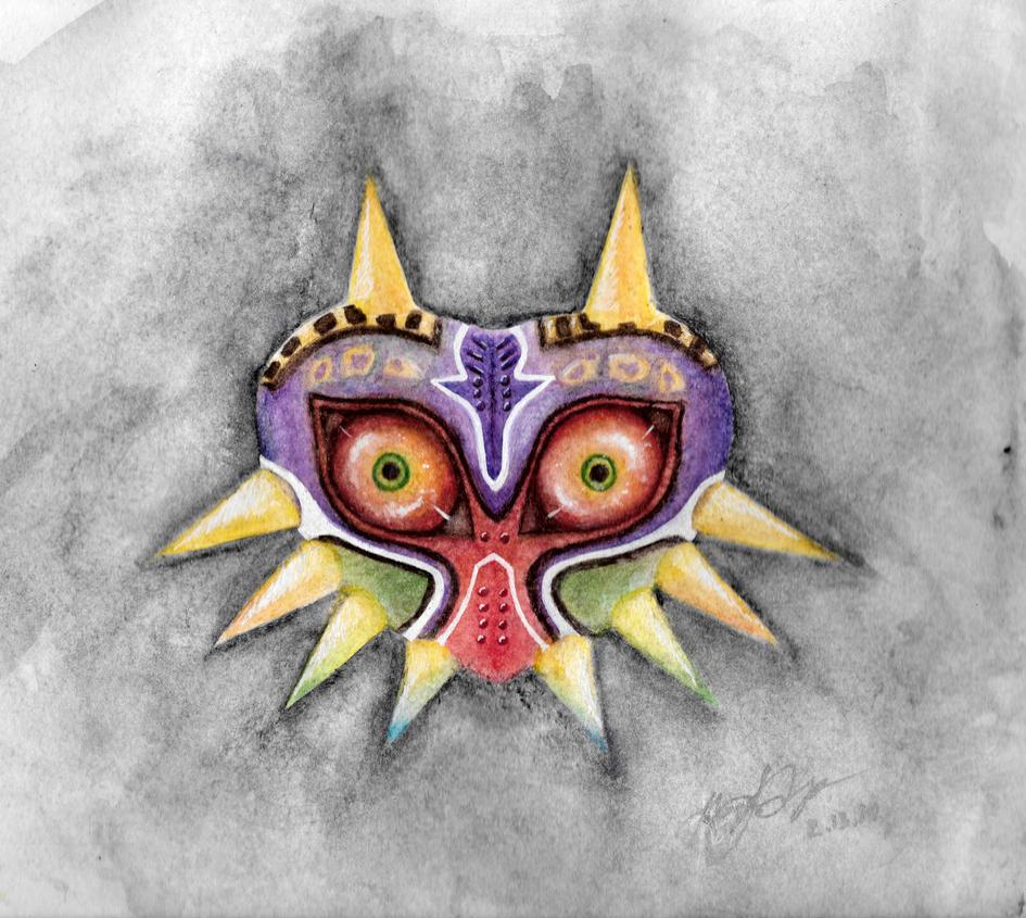 Watercolour Majora's Mask by KillerKiwi979