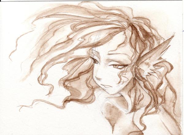 walnut ink study-water nymph by GenkiGoth on DeviantArt