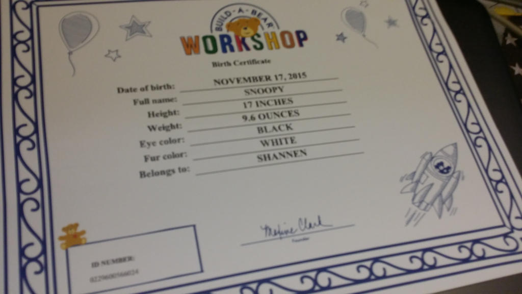 Build A Bear Snoopy Certificate by SmoothCriminalGirl16 on DeviantArt