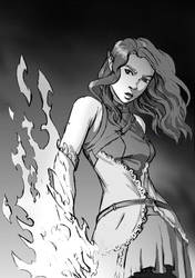 Girl whit fire magic by Colorstormu