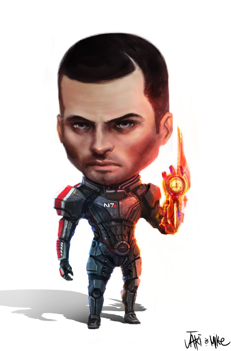 Mass Effect Commander John Shepard Chibi