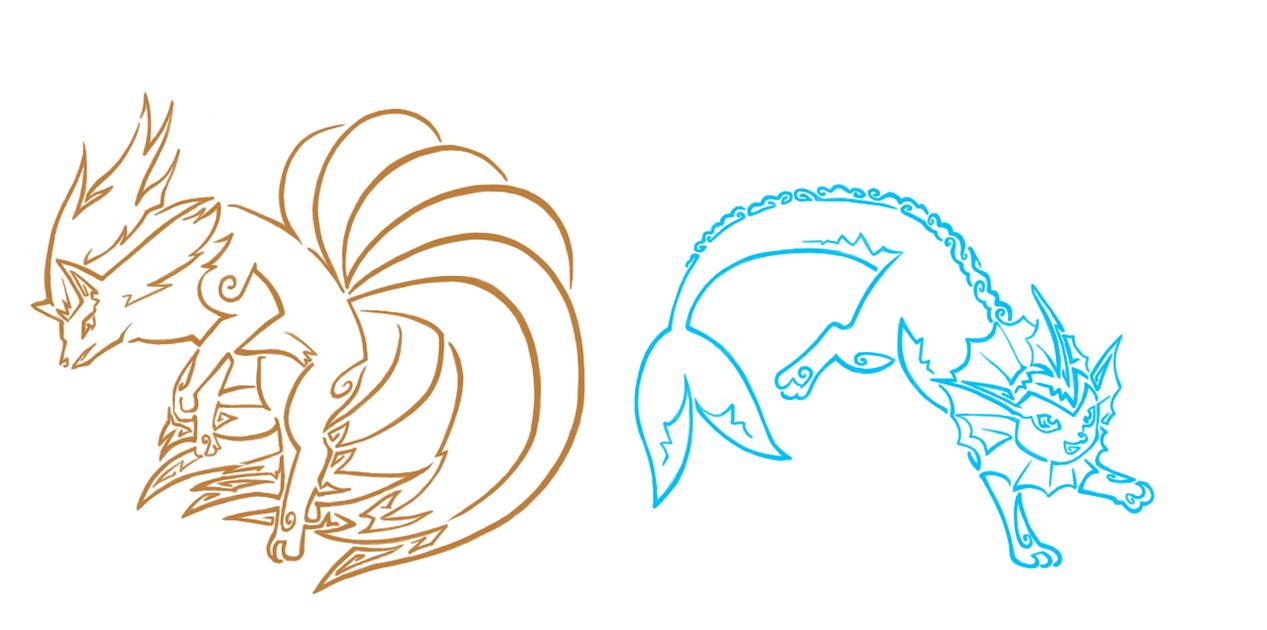 Pokemon Tattoos: Vaporeon and Ninetails by Aerpenium on