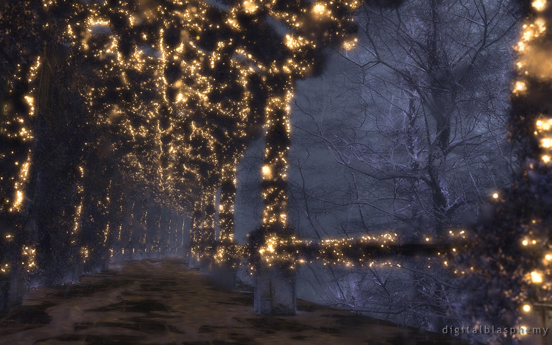 The Shaded Path (Winter/Night) by dblasphemy