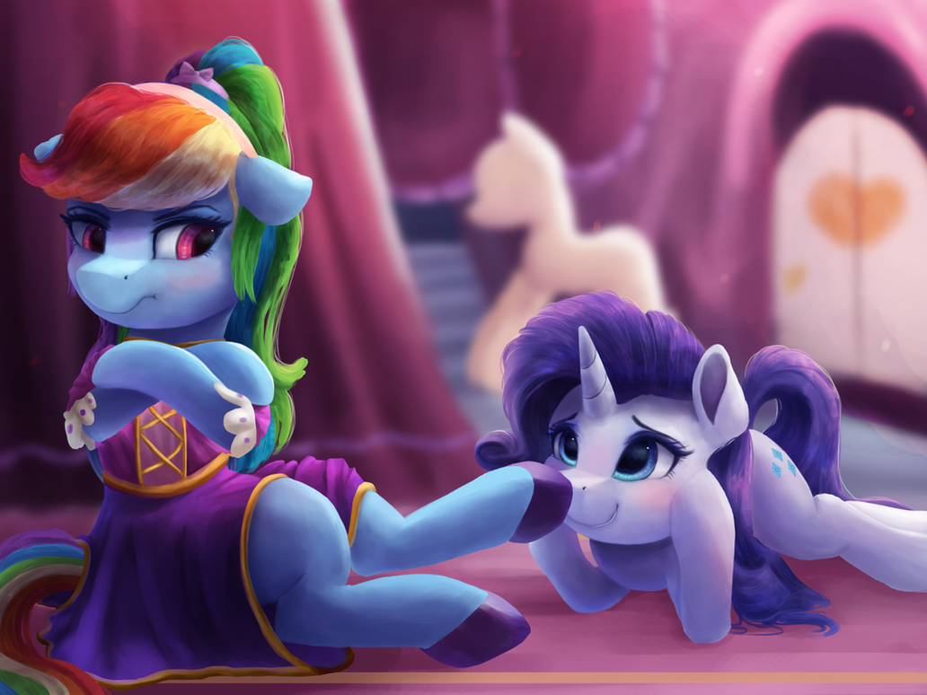 Princess Rainbow Dash Fends Off Lowly Peasant by VanillaGhosties