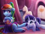 Princess Rainbow Dash Fends Off Lowly Peasant by VanillaGhosties