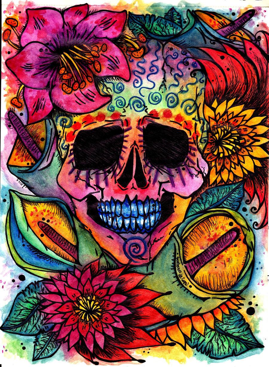 Skull and Flowers by Sombrero-de-Copa on DeviantArt