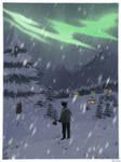 beneath apocalyptic snowflakes