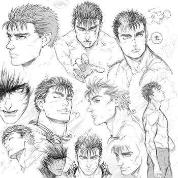 Berserk: Guts sketches by Denoro