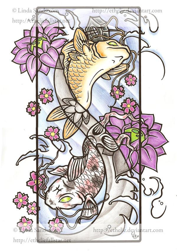 Zodiak no5 Pisces - flower tattoo