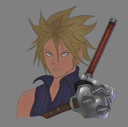 Cloud WIP Armor and Weapons painting by ScottSketcher