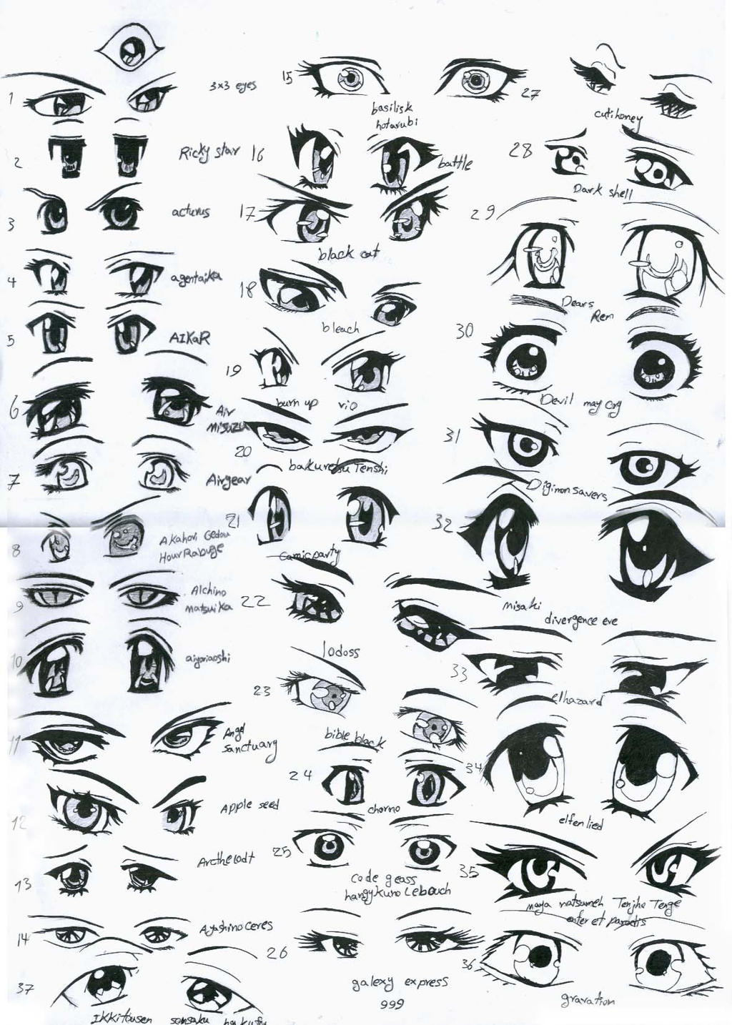 37 female anime eyes by eliantART on DeviantArt