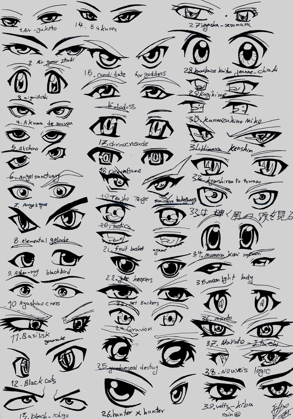 39 male anime eyes by eliantart
