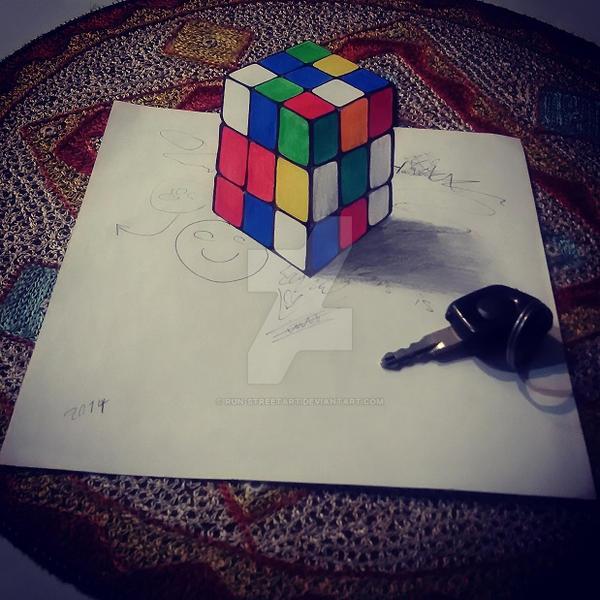 3d drawing cube by eliantART