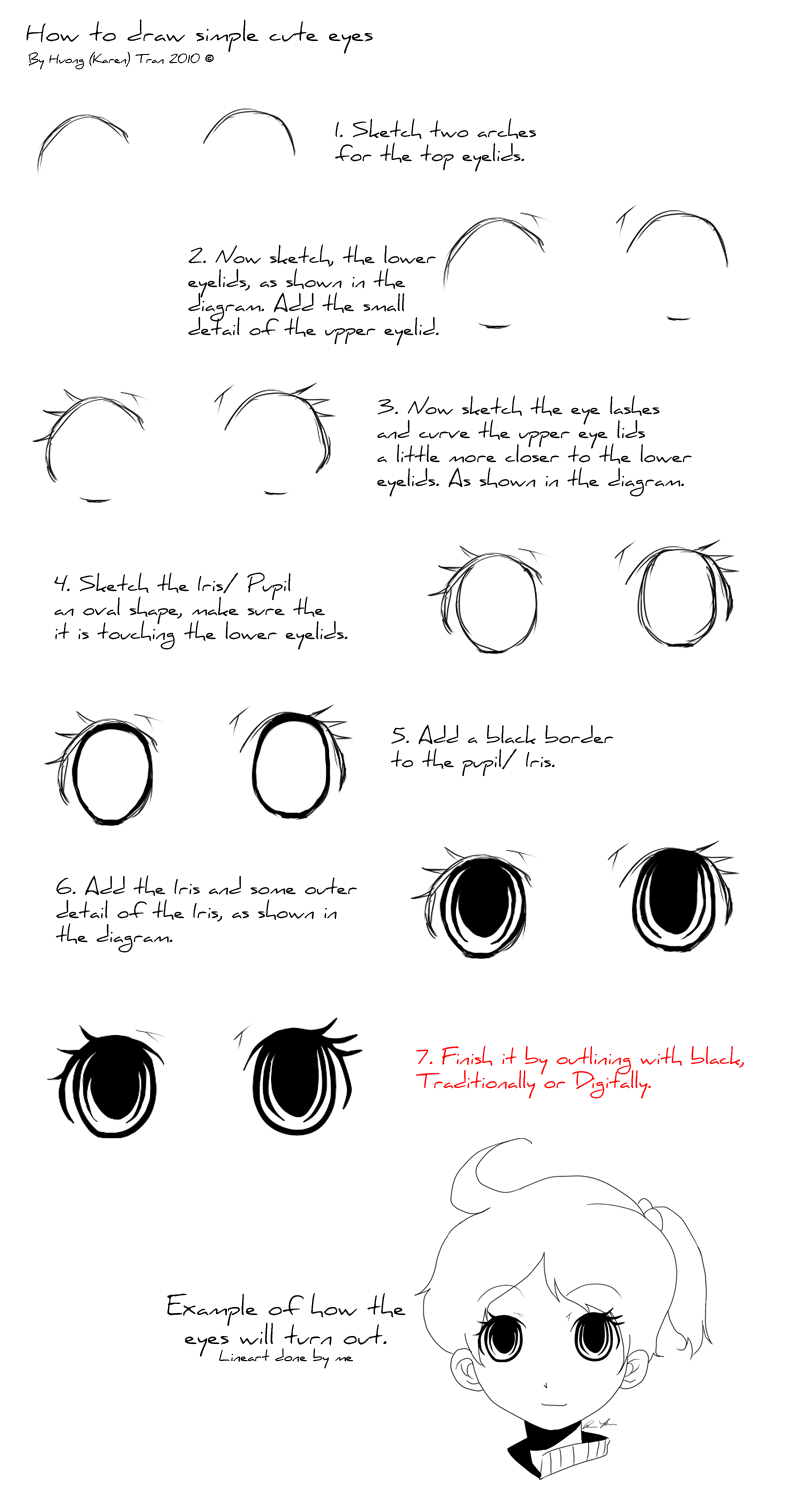 how to draw cute eyes easy
