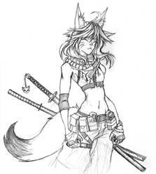 Slinky Foxgirl by Chame