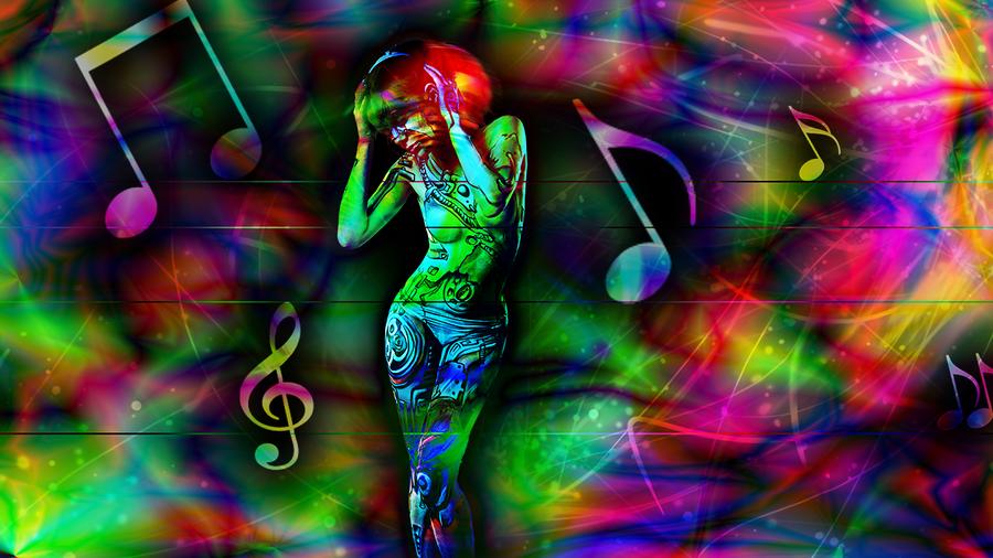 Psychedelic robo-girl by Enjyu666