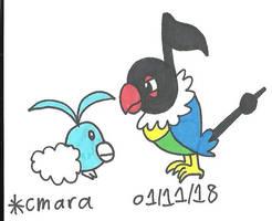 Chatot and Swablu by cmara