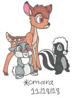 Bambi, Thumper and Flower by cmara