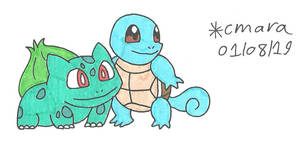 Bulbasaur and Squirtle by cmara