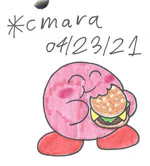 Kirby chows on a burger