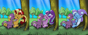 Spike and Twilight's 3 rivals sitting in a tree
