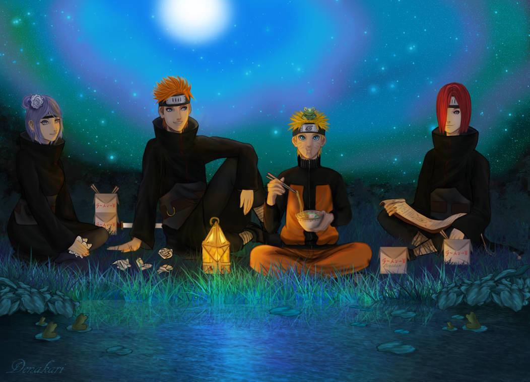 Frogs - Naruto, Nagato, Yahiko and Konan.