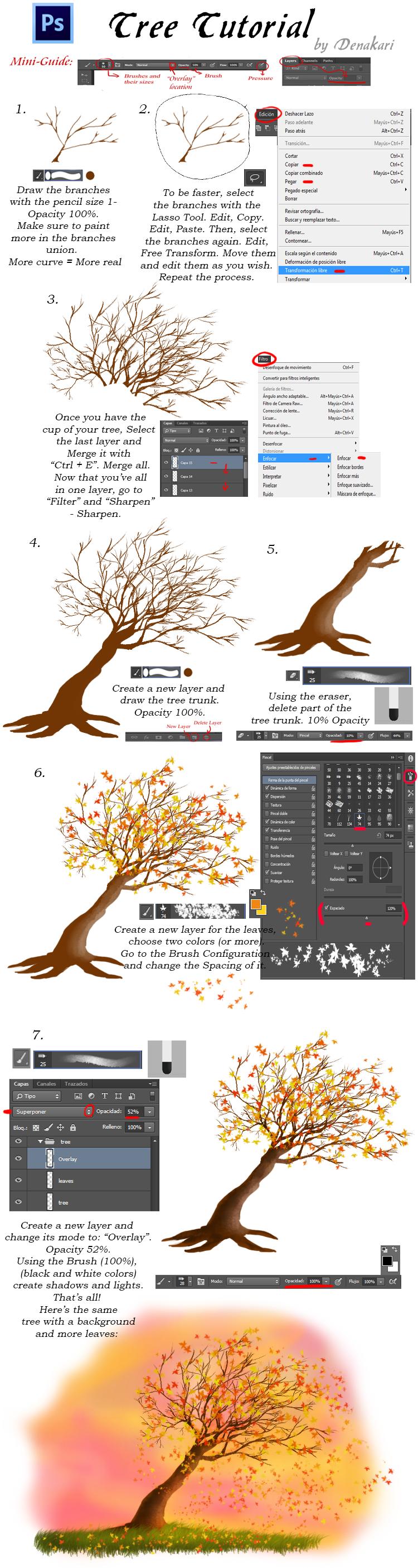 Tree Tutorial - Photoshop CC by Denakari