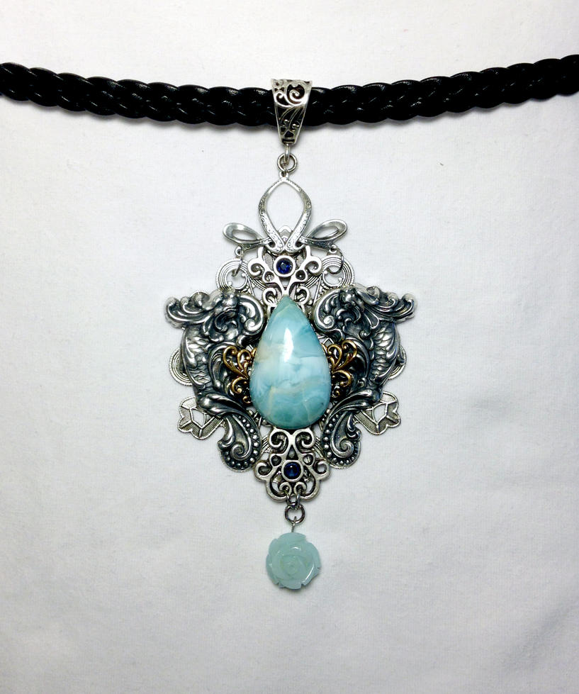 Mikalo OOAK Larimar and Sapphire Pendant by KafkaVey