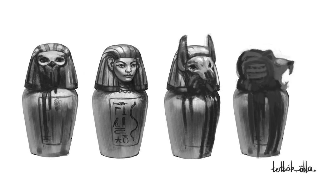 how to draw a canopic jar