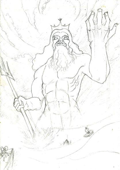 Line Drawing Of Zeus : A random poseidon drawing by haga on deviantart