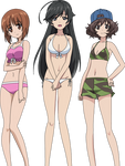 Girls und Panzer swimsuit scene