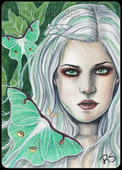 ACEO -- Luna Moth by ElvenstarArt