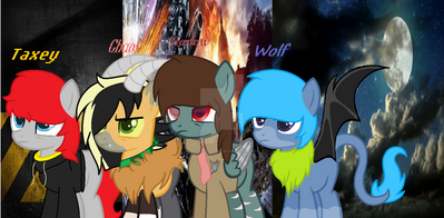 Harlow, Chaos, Wolf, and Taxey by Mystic-Spitfire