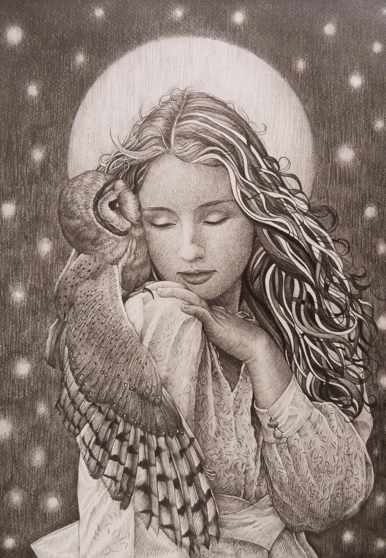 Girl and Owl by AlexndraMirica