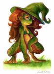 Frog Witch Izzy 2k19 posca+gouache by Amphibizzy