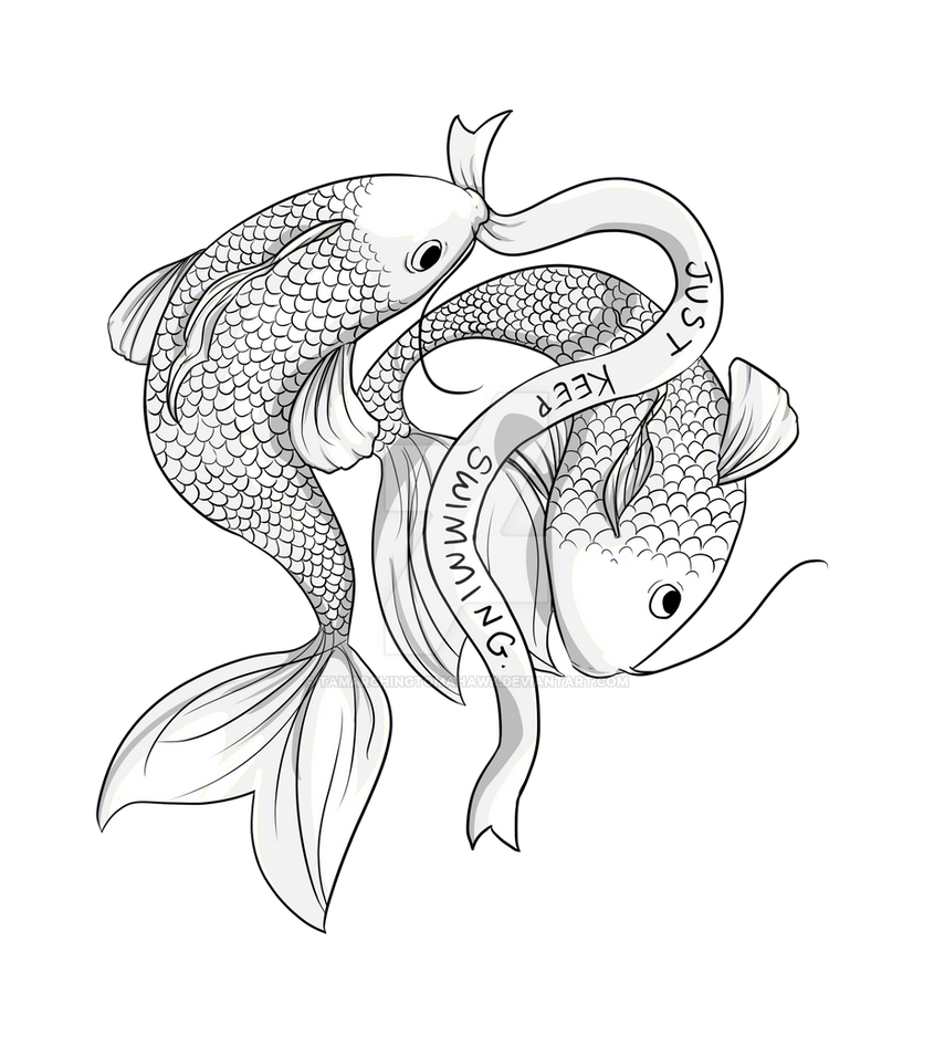 Just keep swimming tattoo design by tamarchingtomahawk on for How to protect a new tattoo when swimming