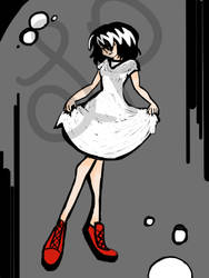 black and white scribble dress with red shoes