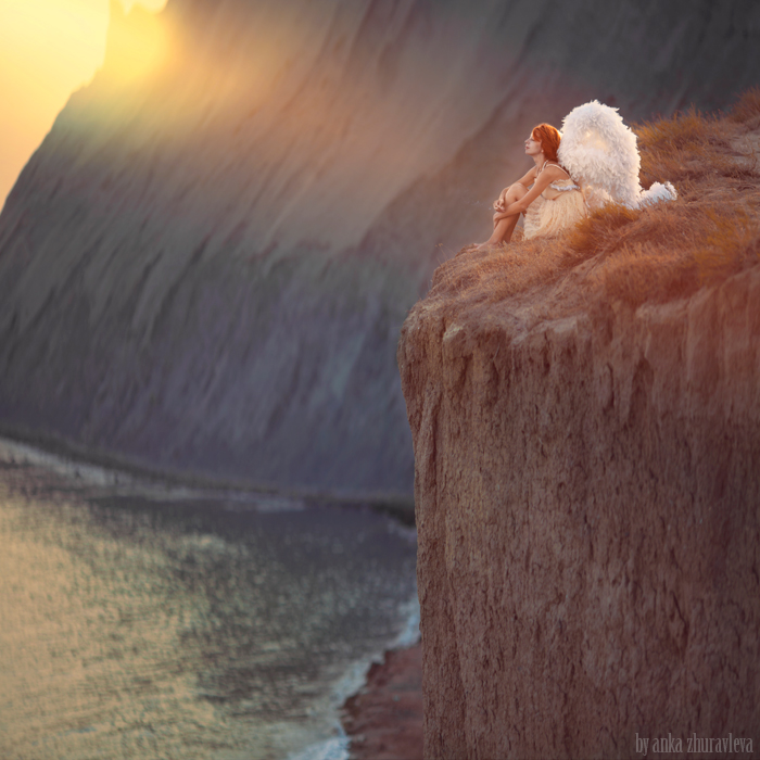 angel on a cliff by ankazhuravleva