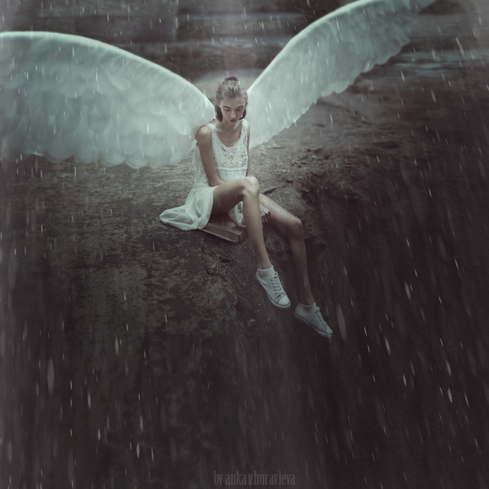 a sad angel under the rain. by ankazhuravleva