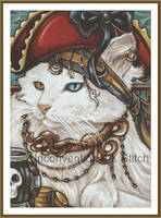 Pirate cat cross stitch pattern - modern counted c by JodyS