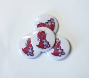 Baby Red Dragon pinback badge needle minder