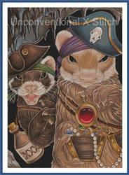 Pirate Ferrets cross stitch pattern - modern count