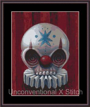Clown skull cross stitch pattern - Licensed Megan