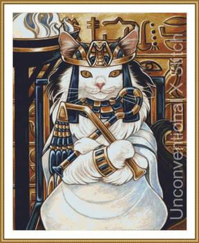 Egyptian cat cross stitch pattern - modern counted
