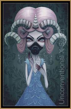 Cyber Goth creature cross stitch pattern - License